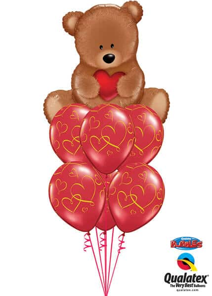 Bukiet 9# – 35″ / 89cm Teddy Bear Love Qualatex #16453, 40862_6