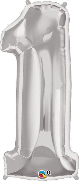 38″ / 96cm – wysokość 34″ / 86cm Number One Silver Qualatex #30397