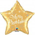 "20"" / 46cm Merry Christmas ! Festive Gold Qualatex #99814"