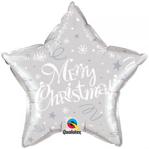 "20"" / 51cm Merry Christmas ! Festive Silver Star Qualatex #99818"