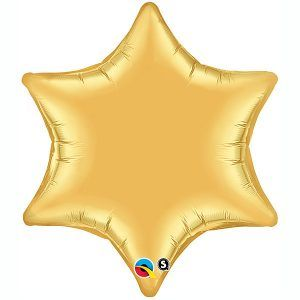 "22"" / 56cm Metallic Gold 6 Point Star Qualatex #19069"