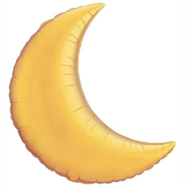35″ / 89cm Crescent Moon Metallic Gold Qualatex #36530