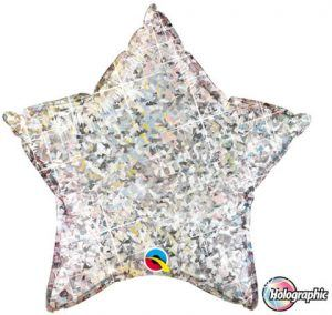 """20"""" / 51cm Holographic Solid Colour Star Silver Qualatex #41267"""
