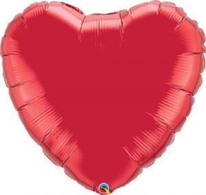 "36"" / 91cm Solid Colour Heart Ruby Red Qualatex #12657"
