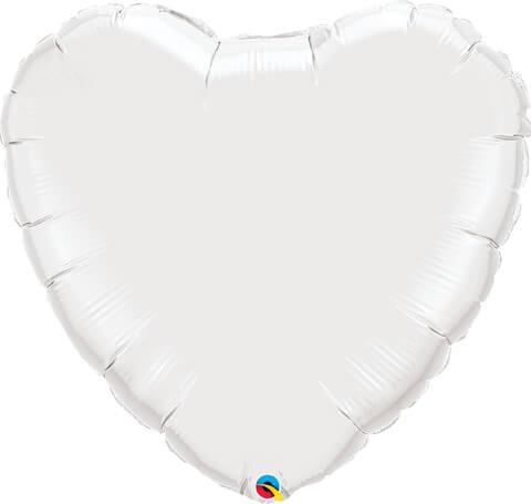 "36"" / 91cm Solid Colour Heart White Qualatex #12668"