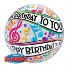 """22"""" / 56cm Happy Birthday To You Music Notes Qualatex #13795"""
