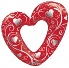 "42"" / 107cm Hearts & Filigree Qualatex #16441"