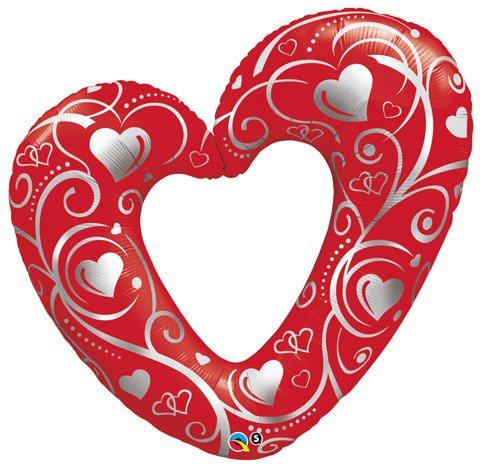 42″ / 107cm Hearts & Filigree Qualatex #16441