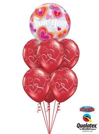 Bukiet 145 Love You Doodle Hearts Qualatex #34072 40862-6