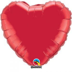 "18"" / 46cm Solid Colour Heart Ruby Red Qualatex #99594"