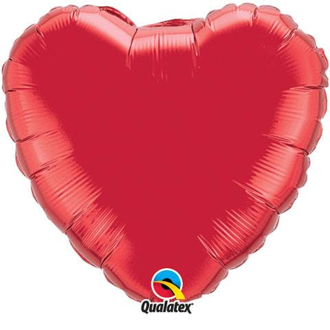 36″ / 91cm Solid Colour Heart Microfoil Ruby Red Qualatex #12657