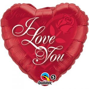 "18"" / 46cm I Love You Red Rose Qualatex #24489"