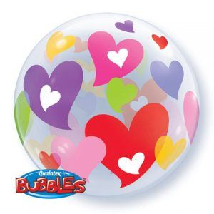 "22"" / 56cm Colourful Hearts Qualatex #27406"