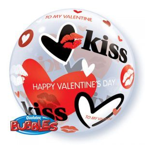 "22"" / 56cm Valentine's Kisses & Hearts Qualatex #27539"