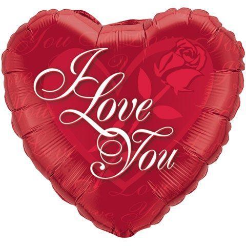 36″ / 91cm I Love You Red Rose Qualatex #27548