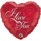 "9"" / 23cm I Love You Red Rose Qualatex #29148"