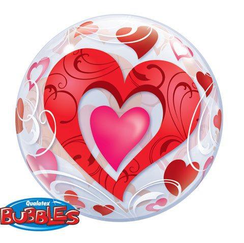 22″ / 56cm Red Hearts & Filigree Qualatex #33909