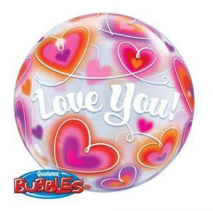 "22"" / 56cm Love You Doodle Hearts Qualatex #34072"