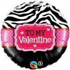 """18"""" / 46cm To My Valentine Zebra Stripes Qualatex #34079"""