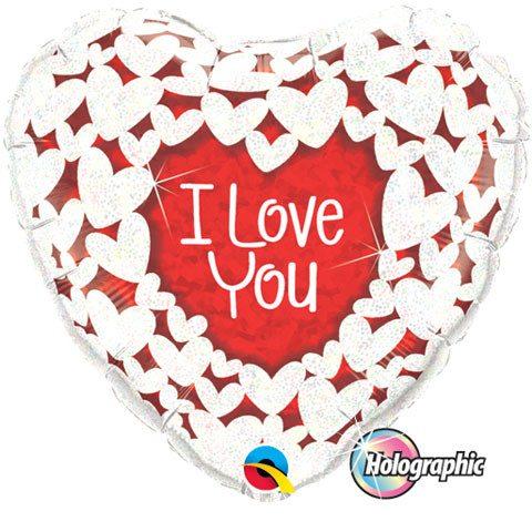 36″ / 91cm I Love Glitter Hearts Qualatex #16512