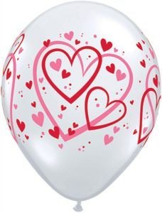 11″ / 28cm Red & Pink Pattern Hearts Qualatex #40295-1