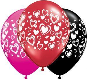 11″ / 28cm Double Hearts Qualatex #40863-1
