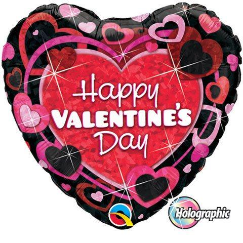 "Valentine""s Shimmering Hearts Qualatex"