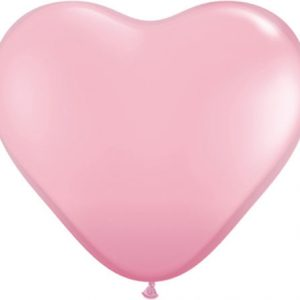 Solid Colour Heart Latex Pink Qualatex