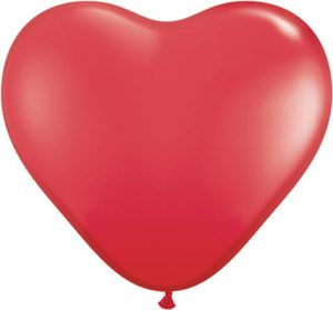 11″ / 28cm Solid Colour Heart Latex Red Qualatex #43730-1