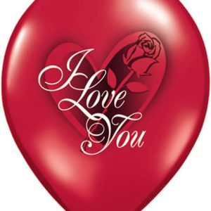 "11"" / 28cm 6ct / 6szt I Love You Red Rose Qualatex #23400"