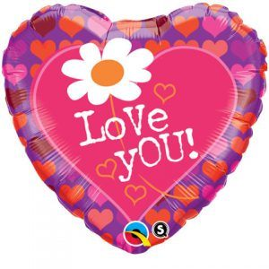 "18"" / 46cm Love You! Daisy & Hearts Qualatex #65192"