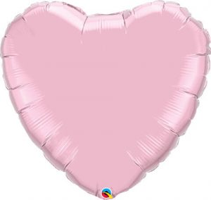 "36"" / 91cm Solid Colour Heart Pearl Pink Qualatex #74626"