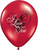 "11"" / 28cm 25ct / 25szt I Love You Red Rose Qualatex #97513"