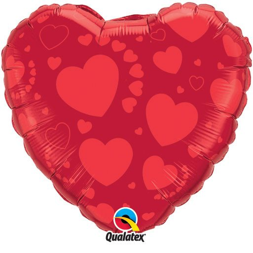 18″ / 46cm Red On Red Hearts Qualatex #99558