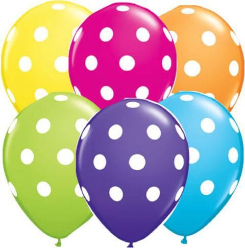 Bukiet 2# - 11″ / 28cm 6ct / 6szt Balonów z helem w kropki #18650_6