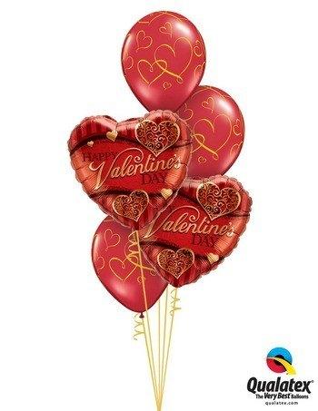 Bukiet 121 Valentine's Golden Filigree Qualatex #34470-2 40862-3