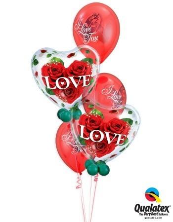 Bukiet 117# – 22″ / 56cm Love Roses Qualatex #33878_2, 23400_3, 43607_4, 43599_4