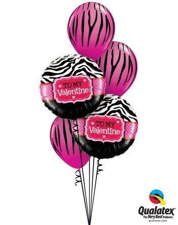Bukiet 123 To My Valentine Zebra Stripes Qualatex #34079-2 12584-3