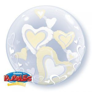 "24"" / 61cm White & Ivory Floating Hearts Qualatex #29489"