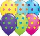 """11"""" / 28cm 50ct / 50szt Big Polka Dots Colourful Asoortment Qualatex #10240"""
