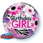 "22"" / 56cm Birthday Girl Floral Zebra Stripes Qualatex #13738"
