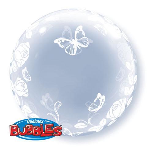 """24"""" / 61cm Deco Bubble Elegant Roses & Butterflies Qualatex #29718"""
