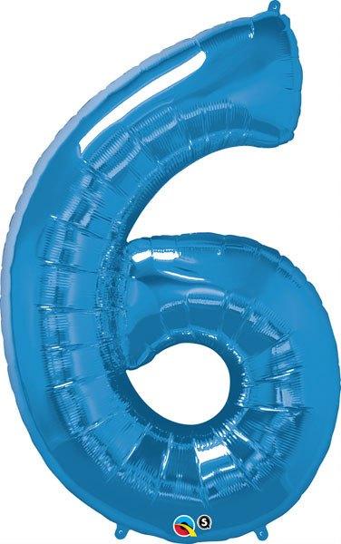 34″ / 86cm Number Six Sapphire Blue Qualatex #30535