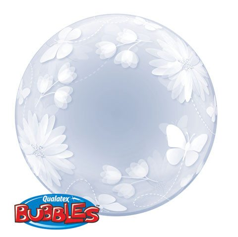 "20"" / 51cm Deco Bubble Butterflies & Flowers Qualatex #11560"