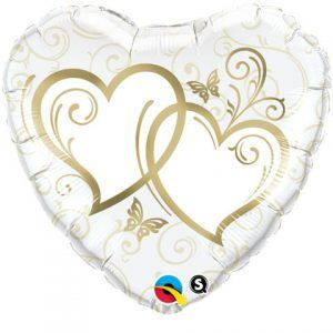 "18"" / 46cm Entwined Hearts Gold Qualatex #15668"