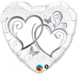 "18"" / 46cm Entwined Hearts Silver Qualatex #15746"