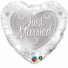 "18"" / 46cm Just Married Hearts Silver Qualatex #15816"