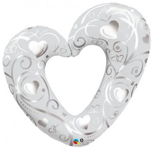 "42"" / 106cm Hearts & Filigree Pearl White Qualatex #16304"