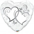 """36"""" / 91cm Entwined Hearts Silver Qualatex #17239"""
