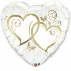 "36"" / 91cm Entwined Hearts Gold Qualatex #17244"